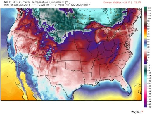 US temperature map