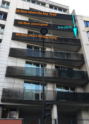 The boy fell from the 6th floor and was found at the 4th floor
