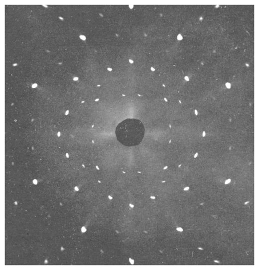 X-ray diffraction from a single sodium crystal.